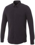38176891-Męska koszula z długim rękawem o splocie pique Bigelow-Storm Grey s